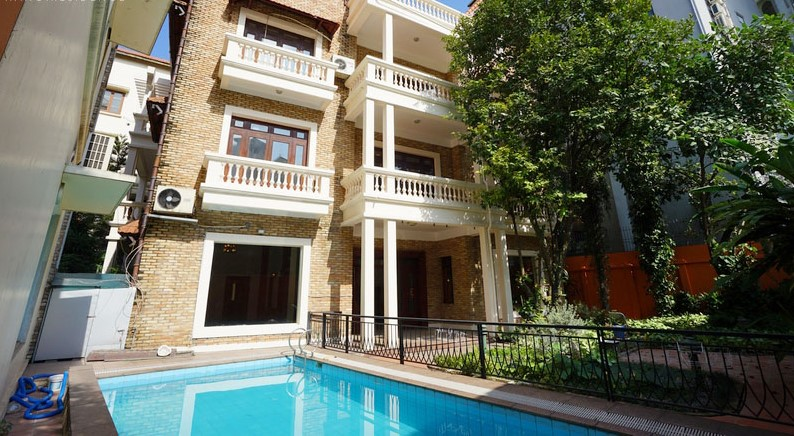 brick facade villa with pool for rent in tay ho