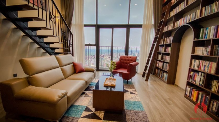 Parisian loft apartment with huge bookshelf for lease in Tay Ho 10