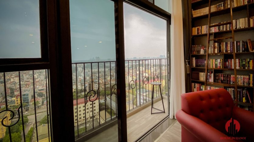 Parisian loft apartment with huge bookshelf for lease in Tay Ho 12