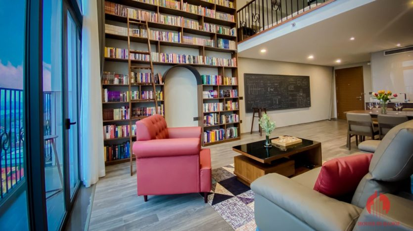 Parisian loft apartment with huge bookshelf for lease in Tay Ho 2
