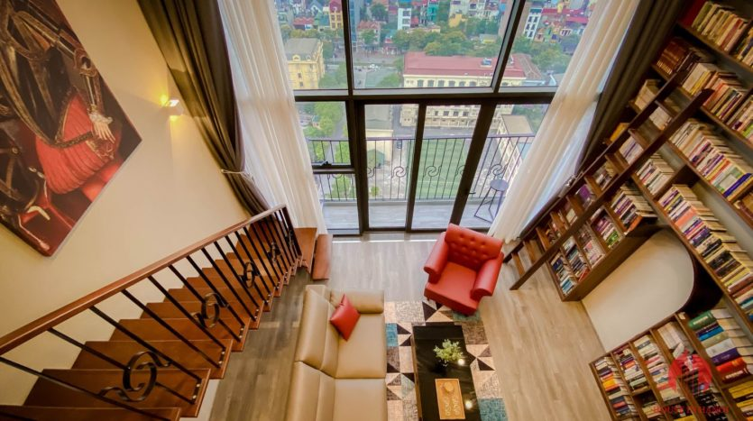 Parisian loft apartment with huge bookshelf for lease in Tay Ho 3