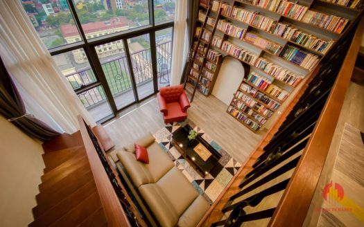 Parisian loft apartment with huge bookshelf for lease in Tay Ho 4