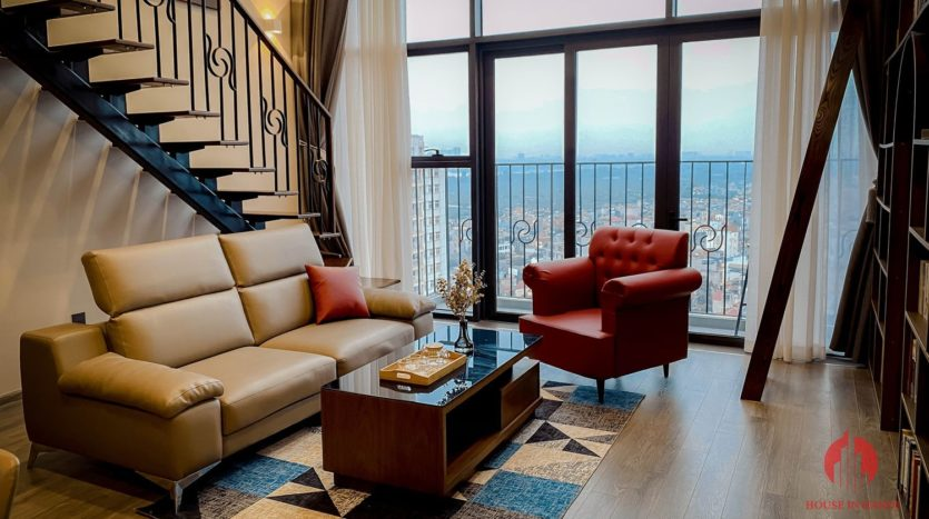 Parisian loft apartment with huge bookshelf for lease in Tay Ho 5