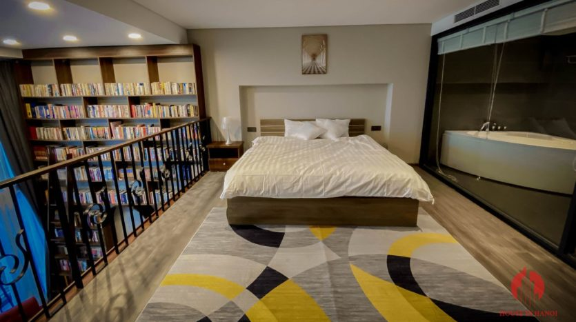 Parisian loft apartment with huge bookshelf for lease in Tay Ho 6