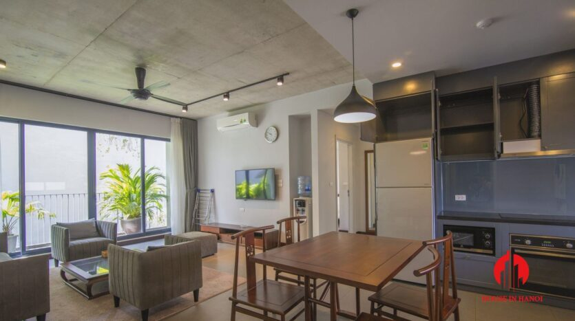 dark themed apartment for rent in tay ho 1